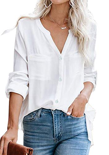 Ehpow Damen Bluse Langarm V-Ausschnitt Bluse Einfarbig Casual Button Down Oberteile Blusen Shirts(Large,Weiß)