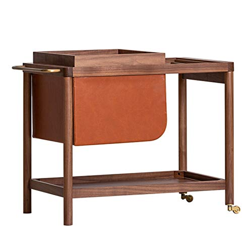 Heizung Small Coffee Table by the Sofa Bedside Table with Multi-compartment Storage Rack and Bookshelf Detachable Snack and Beverage Tray Movable with Rollers (Color : Black walnut)