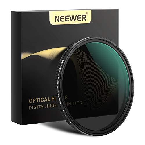Neewer 52mm Filtro ND de Atenuador Variable Filtro Variable de Densidad Neutra ND2 a ND32 (1-5 Paradas) para Lente de Cámara + Sin Cruz Negra + Revestimiento Multicapa Ultradelgado