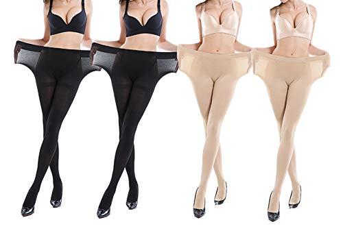 Yulaixuan-Strumpfhose für Damen 4 Paare Steuerung oben Strümpfe 15 Denier-Strumpfhosen in voller Länge, verstärkte Gamaschen (Plus Size 2 Skin 2 schwarz)