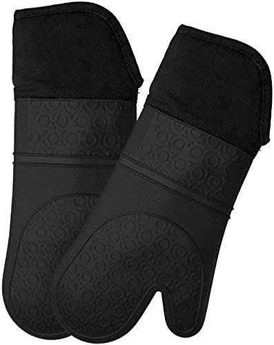 Generic Hochtemperaturbeständige Silikon-Backhandschuhe wasserdicht und wärmeisolierend Küchenhandschuhe rutschfest verschleißfest (schwarz) 1 Paar