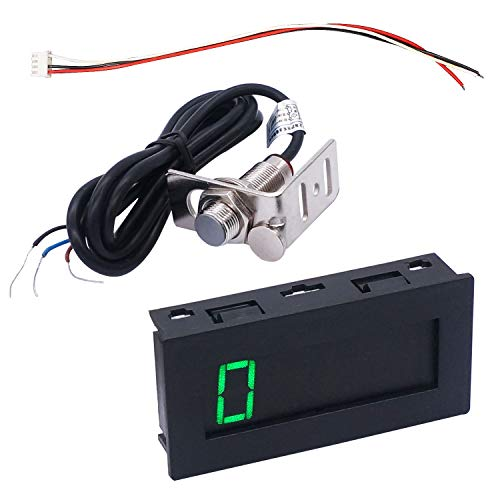 TWTADE 4 Digital Tachometer RPM Green LED  with Wire +Magnet+Hall NPN Proximity Switch Sensor +Holder  ZSB5JT-G