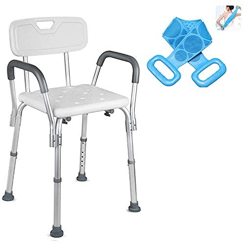 シャワーチェア介護 風呂 椅子 介護 風呂いす 介護用 6段階高さ調節 背もたれ付き アルミ合金フレーム 軽量 丈夫 シャワー用 介護ダイニングチェア 手すり (背もたれと肘掛け付きのシャワーチェア, White)