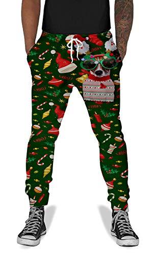 UNIFACO Christmas Dog Men Women Print Joggers Casual Sweat Hiphop Pants