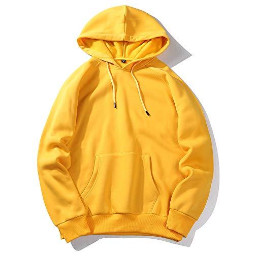 MRULIC Herren Basic Kapuzenpullover Sweatjacke Einfarbig Pullover Hoodie Sweatshirt RH-001(Gelb,EU-42/CN-S)