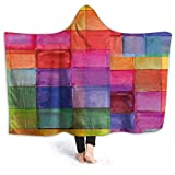 ERshuo 50'x40' Hooded Blanket Hood Cloak Cape Wearable Cuddle Super Soft Sherpa Fleece 3D Blanket, Rainbow Colored Geometric Square Shaped with Blurry Hazy Effects Watercolor Design 60x80IN