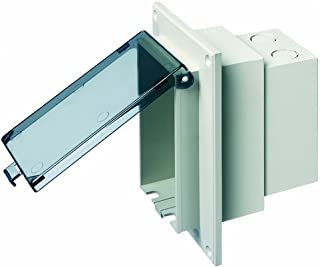 Arlington DBVR1C-1 Low Profile IN BOX Electrical Box with Weatherproof Cover for Flat Surface Retrofit Construction, 1-Gang, Vertical, Clear