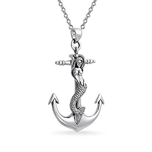 Gran Mar Náutica Siren Sirena Colgante Collar De Anclaje Para La Mujer Adolescente Plata Esterlina 925 Oxidada