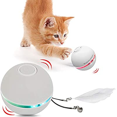 HESTIA Interactive Cat Toy Ball, Automatic Rolling Kitty Toys for Indoor Cats, USB Charging 360 Degree Self Rotating Ball,Build-in Catnip Spinning Color Led Light,with Feather/Bell Toy (Grey)
