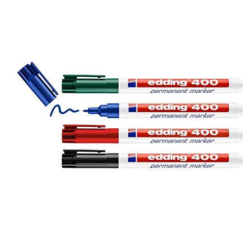 edding 400 Permanentmarker - schwarz, rot, blau, grün - 4 Stifte - feine Rundspitze 1 mm - wasserfest, schnell-trocknend - wischfest - für Karton, Kunststoff, Holz, Metall, Glas