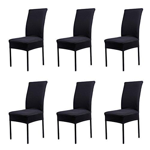 CosyVie Lot de 6 PCS Housses Couvertures de Chaise Extensibles et Lavables pour Protection Chaise Salle à Manger Noires