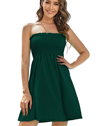 AS ROSE RICH Women's Strapless Bathing Suit Coverups Elastic Ruched Tube Top Beach Mini Dress Medium A.Storm Green