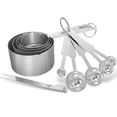 GeeRic Cucharas medidoras,cucharas medidoras + Nivelador Cucharas medidoras Cuchara apilable multifuncional de acero inoxidable Cucharas medidoras de metal para ingredientes secos y líquidos