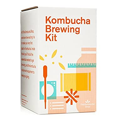 Kombucha Brewing Kit with Organic Kombucha Scoby. Includes Glass Brew Jar, Organic Kombucha Loose Leaf Tea, Temperature Gauge, Organic Sugar and More!