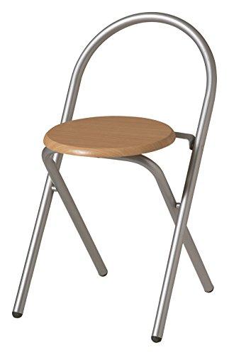 Plio Taburete silla plegable metal asiento madera,para cocina, bano, balcon, habitacion juvenil. Pack de 6 unidades