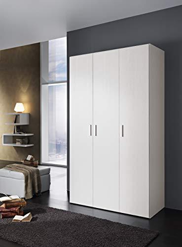 InHouse srls Armadio in Legno, 3 Ante, Color Bianco Frassinato, Mis. H 211 x L 123,1 x P 53,3