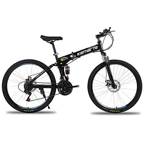 JIAO&M Faltbare Bergbike,Berg Trail Bike,Stoßdämpfung Bergbike,26inch Speichenrad Scheibenbremse Aussetzung Gabel Schwarz 21-Gang