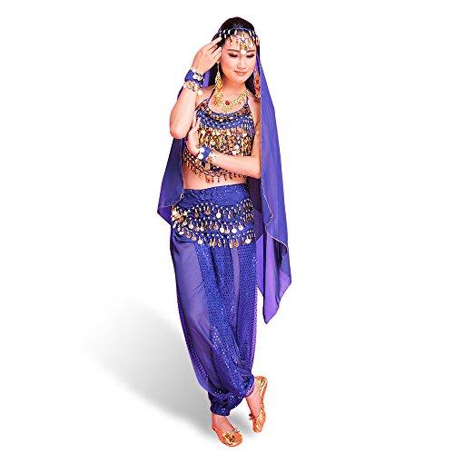SymbolLife Belly Indian Dance Costumes, Bauchtanz kostüm Damen indischen Tanzkleidung Tanzkostüme Karneval Kostüme Darbietungen Kleidung Das Obere + Pluderhosen + Gürtel+ Kopf Kette Marineblau