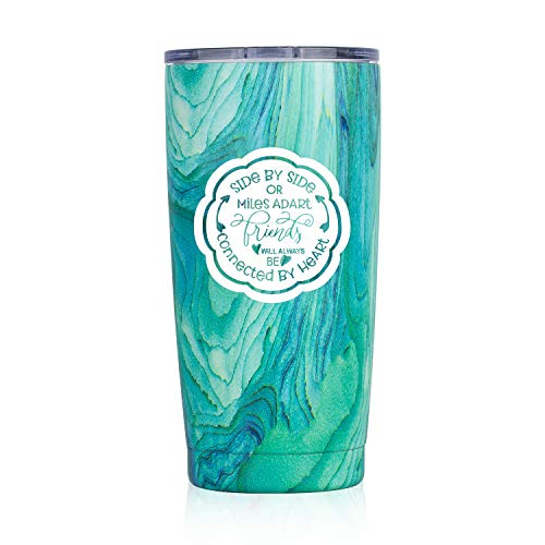 Best Friends Gifts | Nui Living 20 Oz Tumblers Side by Side or Miles Apart Friends Will Always be Connected by Heart | Long Distance Friendship Gifts (Blue Swirl)