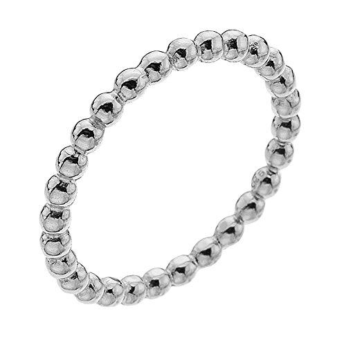 Dew Sterling Silver Beaded Band Ring - Size - L