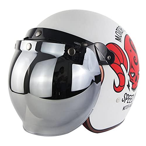 YAYT Medio Casco de Motocicleta Retro Cuatro Estaciones, Color sólido, con Espejo de Burbuja en Polvo Degradado Aprobado por Dot/ECE, Casco anticolisión para ciclomotor Scooter (S ~ XXL)