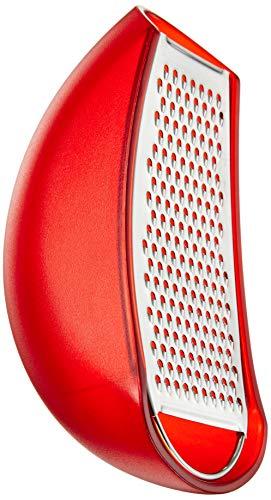 """Alessi \""""Parmenide\"""", Reibe mit Käsedose aus thermoplastischem Harz rot, und Reibe aus Edelstahl glänzend poliert"""