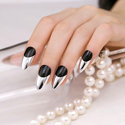 ArtPlus 24pcs Preglued Black Silver Tip Chrome Fake Nails Press on Nails Full Cover Stiletto Glue on Nails False Nails Kit