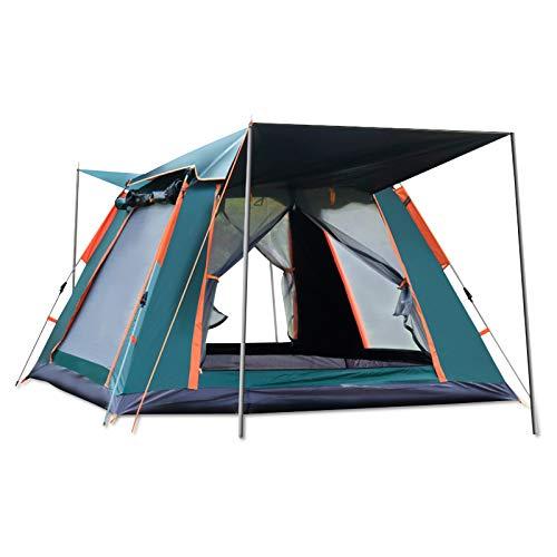 Ergocar Tienda de Campaña 3-4 Personas Tienda de Camping Ligero Impermeable Anti Viento Exteriores Tienda de Campaña para Senderismo Festival Camping Mochila (Verde, Vinilo)