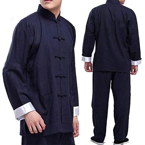 Tai Chi Kleidung Damen,herren Bruce Lee Vintage Chinesische Wing Chun Kung Fu Uniform Baumwolle Seide Kampfkunst Tai Chi Anzüge Traditionelle Tai Chi Kleidung Für Ihre Tai Chi Übung,Blue-X-Large