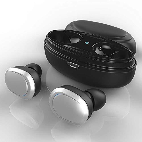 TYXL Almacenamiento De Carga Una Separación Simple Y Doble Doble Auricular Tipo Inalámbrico Inteligente Uno para Dos Mini Estéreo De Espera Largo Auricular Bluetooth (Color : Silver)