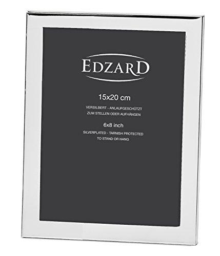EDZARD Bilderrahmen Prato für Foto 15 x 20 cm, edel versilbert, anlaufgeschützt, mit Samtrücken, inkl. 2 Aufhängern, Fotorahmen zum Stellen und Hängen