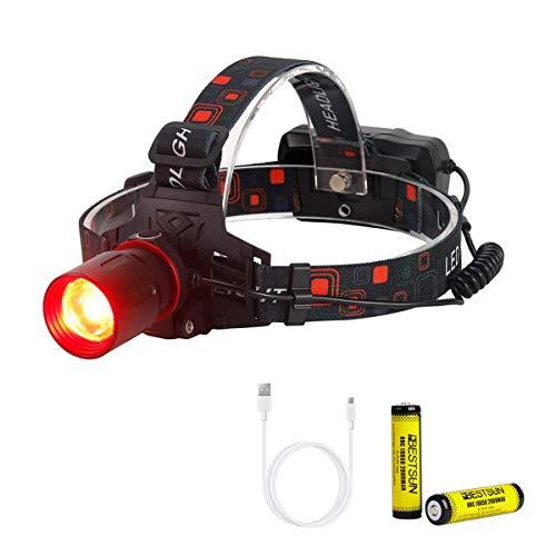 XLENTGEN Luz Frontal LED Rojo, LinternaCabeza Luz Roja con Enfoque Ajustable, 3 Modos, Linterna Frontal Recargable para Acampar, Pescar, Astronomía y Observación Nocturna (Baterías Incluidas)