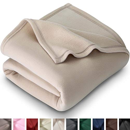 Bare Home Polar Fleece Blanket - Full/Queen - Warm Cozy - Hypoallergenic Premium Poly-Fiber Yarns - Thermal - Lightweight Bed Blanket (Full/Queen, Oyster)