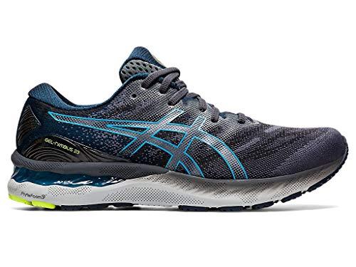 ASICS Zapatillas de correr Gel-Nimbus 23 para hombre, gris (Carrier Grey/Digital Aqua), 42 EU