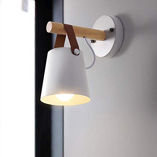 Goeco Lámpara de pared pantallas lamparas, Lámpara de pared decorativa madera, Lámpara de pared nórdica E27, Usado para Mesilla de noche Pasillo Comedor (blanco)