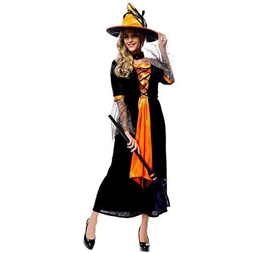 LXDdjws Disfraz de Bruja para Halloween, Disfraz de Bruja para Adultos, Barra de Cosplay, Fiesta, Festivales de luto, Large