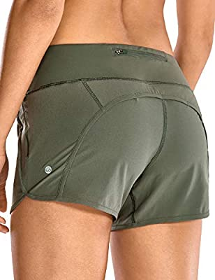 CRZ YOGA Women's Quick-Dry Athletic Sports Running Workout Shorts with Zip Pocket - 4 Inches Grey Sage 4''-R403 Small