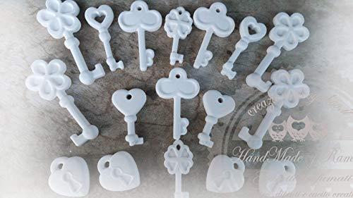Gessetti profumati 50 pz misti, chiavi,cuore serratura