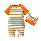 Baby Strampler Cute Overall Kinder Rundhals Jumpsuit mit Hut Neugeborenes Spielanzug mit Druckknopf Sommer Jungen Mädchen Kurzarm Baby-Nachtwäsche 0-12M (Orange, 9-12M)