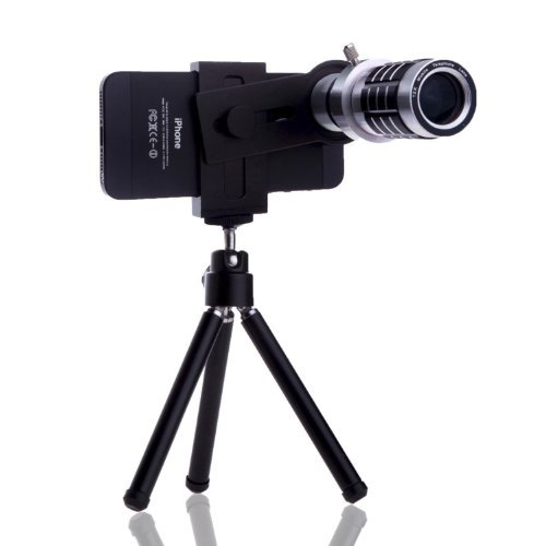 Universal Smartphone Camera Lens Kit Including 12x Telephoto Manual Focus Lens/Fish Eye Lens / 2 in 1 Macro and Wide Angle Lens/Tripod/Lens and Phone Holder/Fits Most Phones
