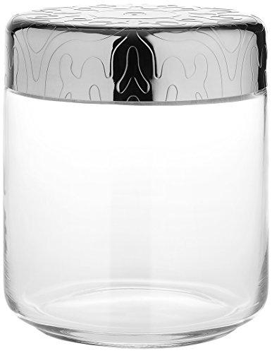 Alessi Mw21/75 Dressed Pot Hermétique en Verre, Couvercle en Acier Inoxydable 18/10 Brillant avec Décoration en Relief