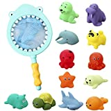 Goomp Bath Toys,13pcs Baby Bath Toy Toddler Bathtub Toy Floating Toy Fishing Net Game Rubber Squirt Farm and Ocean Animals Bathtime Water Fun Toy for Baby Toddlers Kids