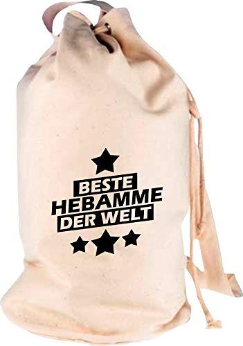 Shirtstown Sac à Dos Hebamme du Monde - Motif Logo - Sac de Voyage - Vacances - Vacances - Vacances - Naissance - Merveilleuse, Naturel, 30 cm x 53 cm x 30 cm