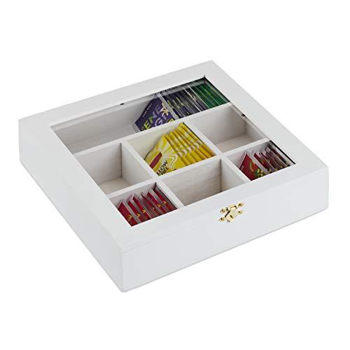 Relaxdays Teebox Holz, 7 Fächer, 100 Teebeutel, Teekiste mit Sichtfenster, Aromaschutz, HxBxT 6 x 25 x 25,5 cm, weiß 10027981_49