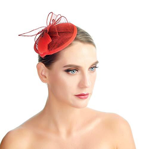 SACASUSA Feather Fascinator Cocktail Hat Linen Net Mesh Formal Headwear Hair Clip