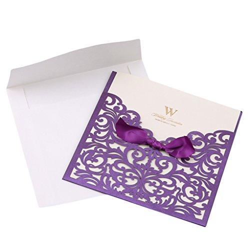 SEVENHOPE 25 Stück Lila Hochzeit EinladungsKarten Geburtstag Taufe Party Glückwunsch Einladung Karten Elegant Band Spitzenschnitt Design mit Umschläge