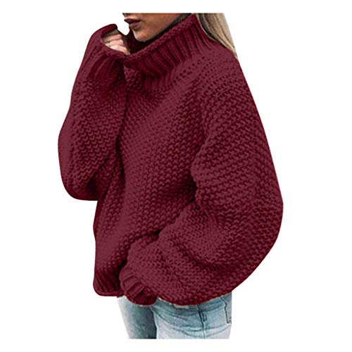Women's Oversized Lantern Sleeve Jumper Turtleneck Knitted Sweater Casual Loose Pullover Tops KLGDA Red