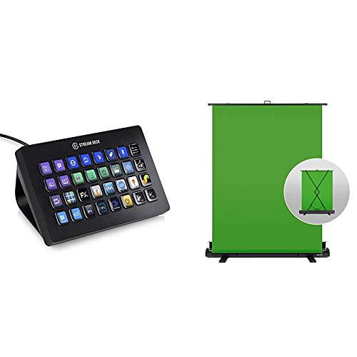 Elgato Stream Deck XL, Fortschrittliche Stream-Steuerung, 32 frei Anpassbare LCD-Tasten & Green Screen Chroma-Key-Panel (zur Hintergrundentfernung mit automatisch arretierendem Rahmen), (148x180 cm)
