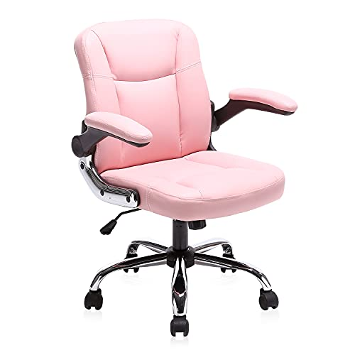 Myka's Ergonomic Leather Executive Office Chair High Back Computer Desk Chair with Upholstered Armrest (Pink)