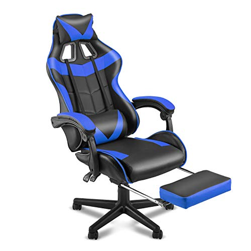 Soontrans Racing Style PC Computer Chair Gaming Chair Office Gaming Chair Ergonomic Office Chair with Height Adjustment Retractable Footrest Headrest and Lumbar Support Office Chair(Storm Blue)